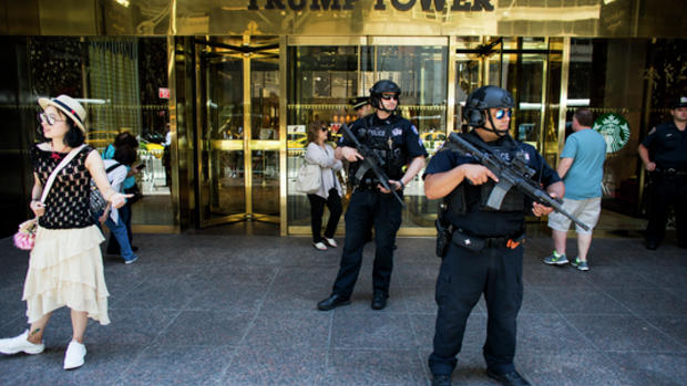 Security outside Trump Tower, on Fifth Avenue in Manhattan