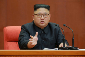 KCNA picture of North Korean leader Kim Jong Un speaking during the Second Plenum of the 7th Central Committee of the Workers' Party of Korea